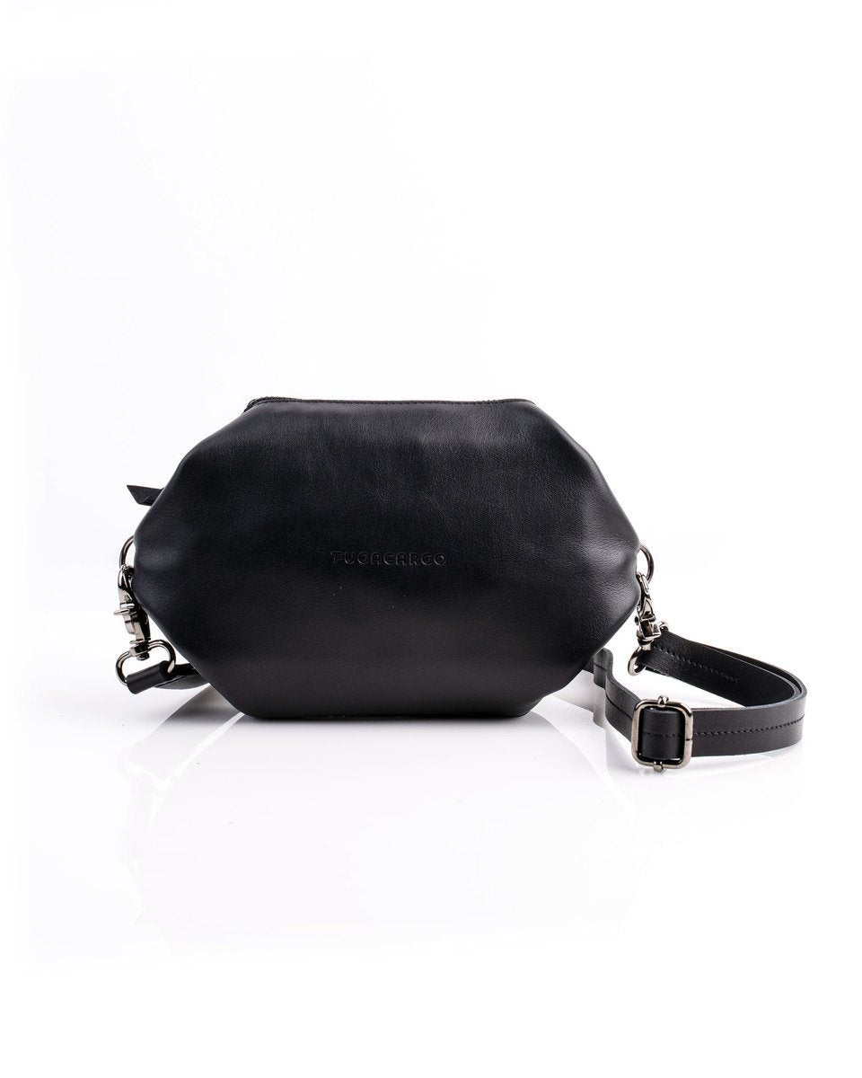 Bumbag black - Convertible smooth leather bum bag, shoulder bag or hand bag - Front view