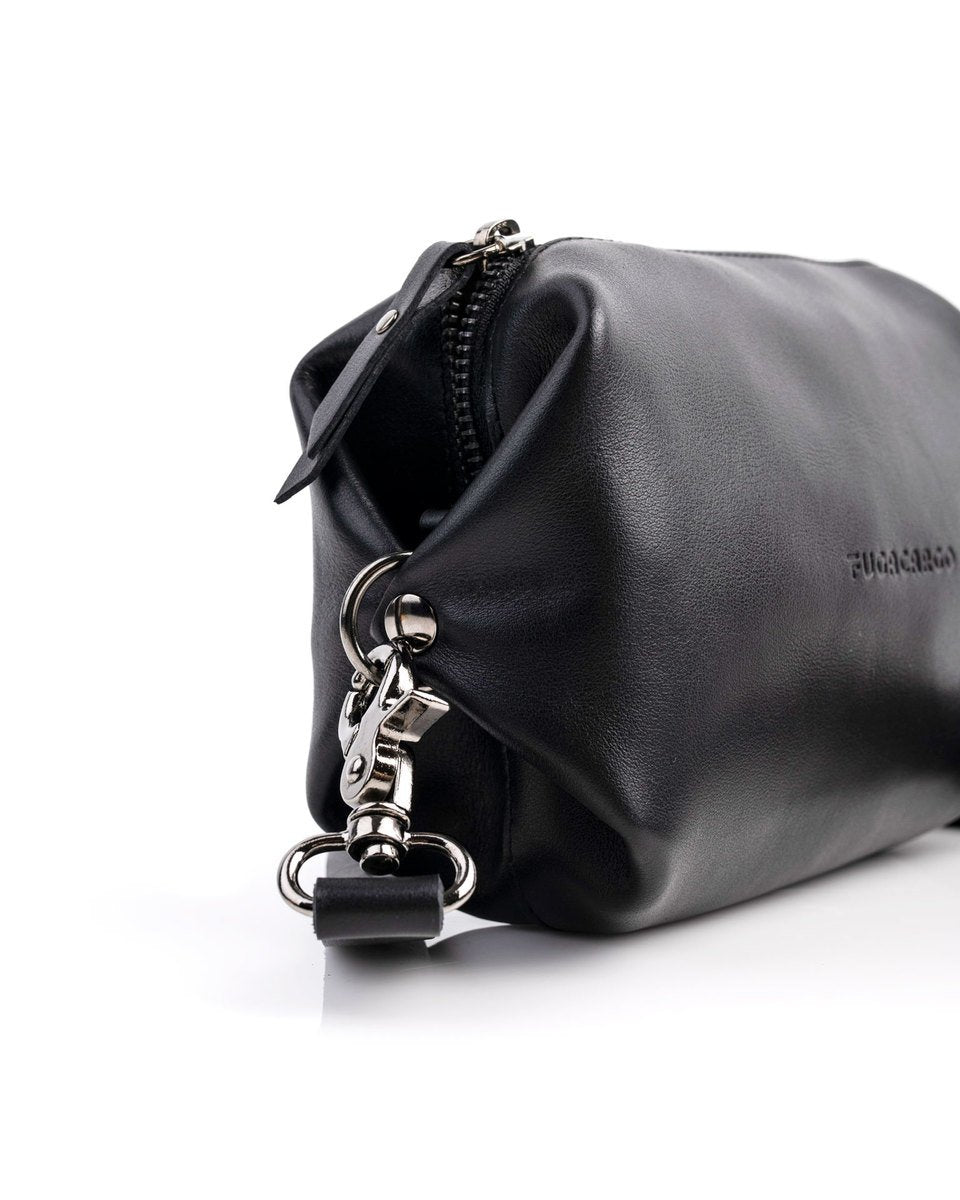 Bumbag black - Convertible smooth leather bum bag, shoulder bag or hand bag - Metal trimmings detail