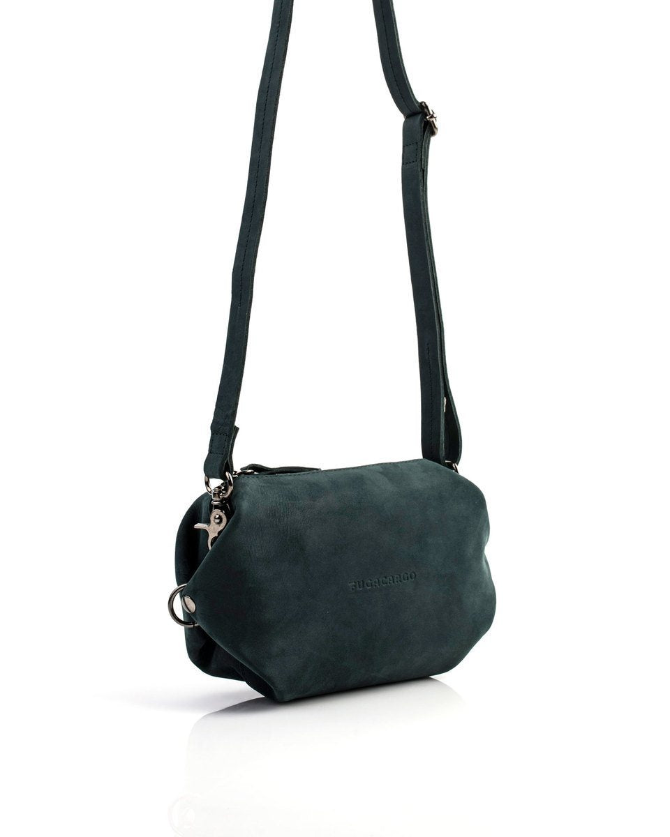 Bumbag green - Convertible smooth leather bum bag, shoulder bag or hand bag - With the strap extended