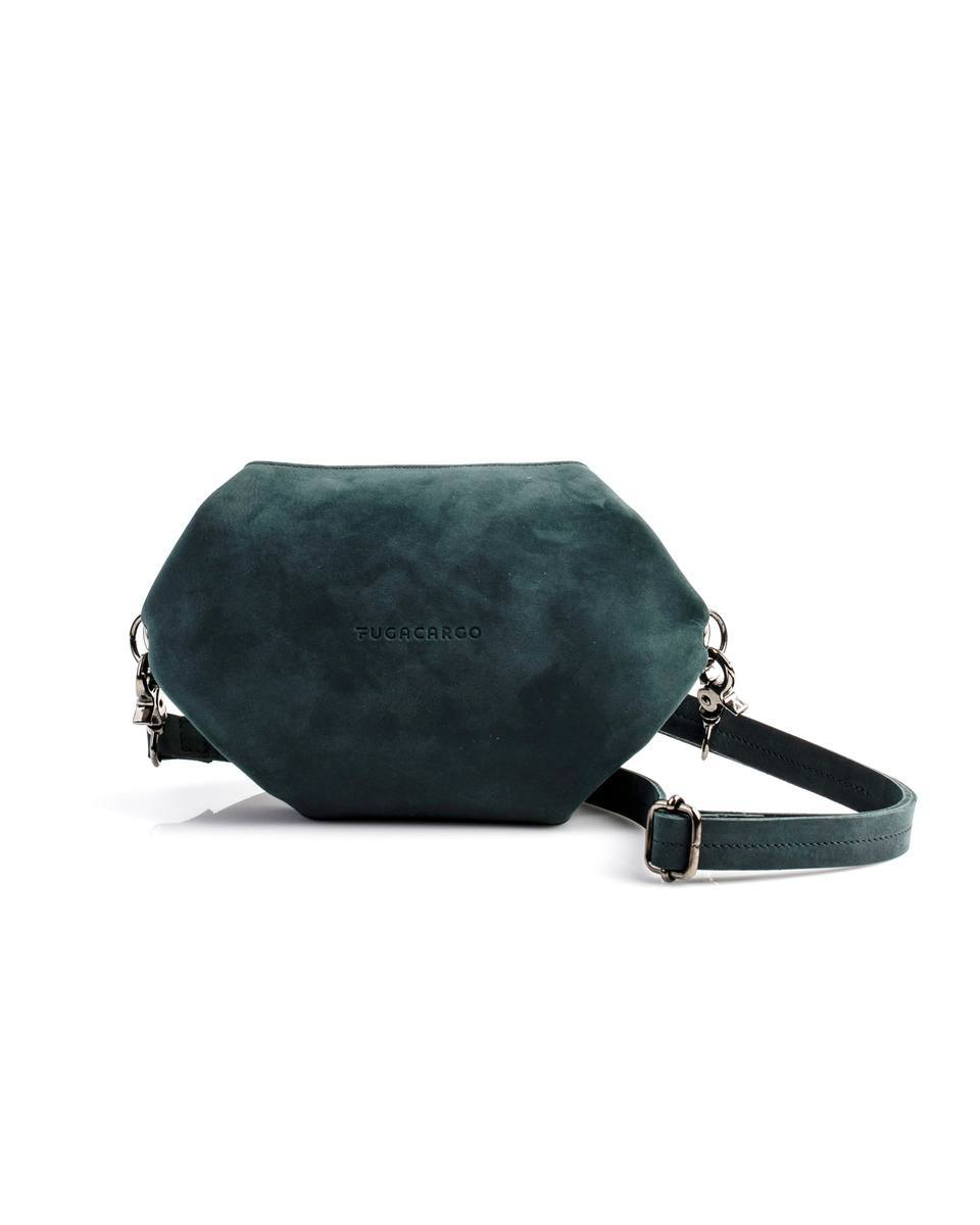 Bumbag green - Convertible smooth leather bum bag, shoulder bag or hand bag - Front view