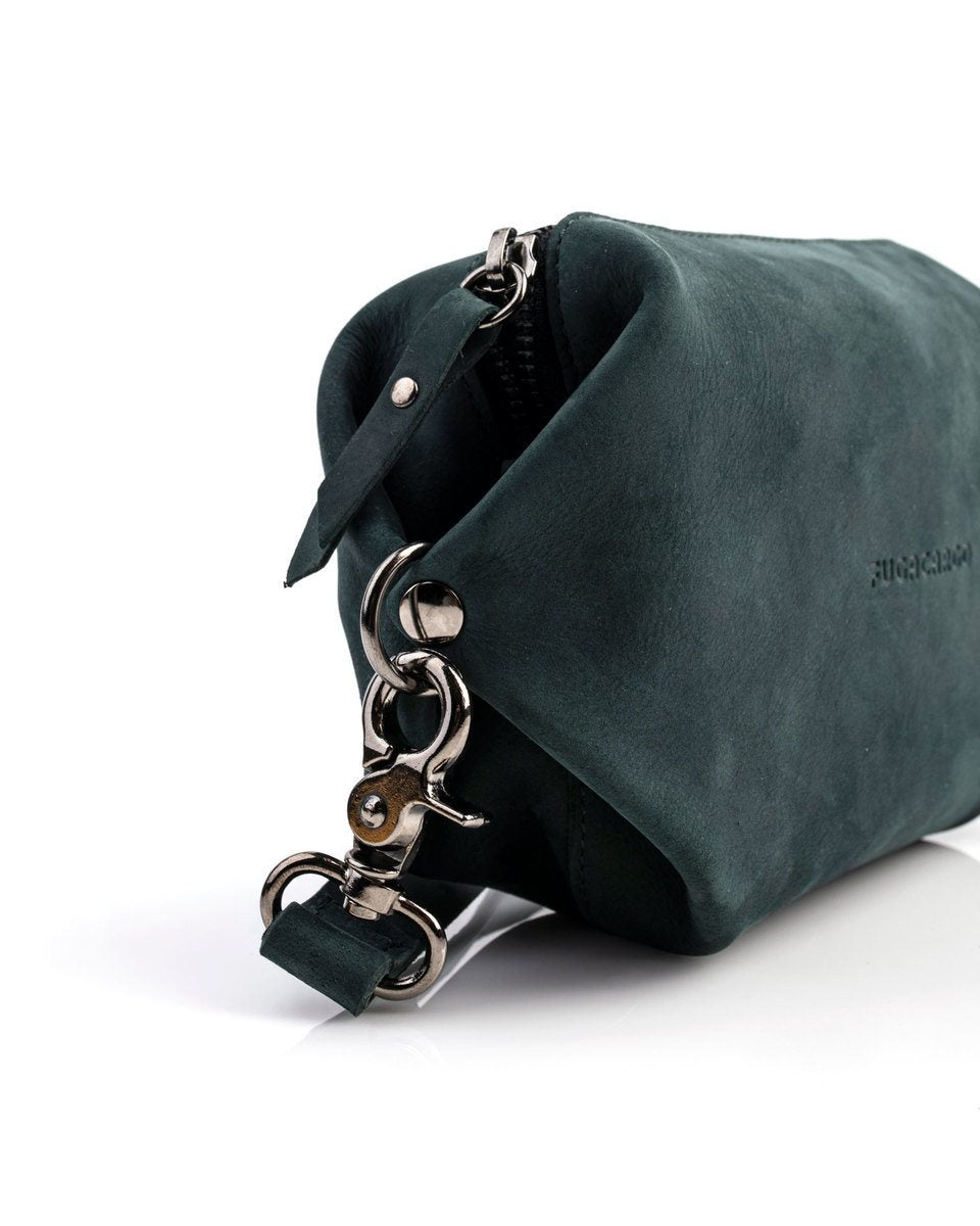 Bumbag green - Convertible smooth leather bum bag, shoulder bag or hand bag - Detail of the metal trimmings