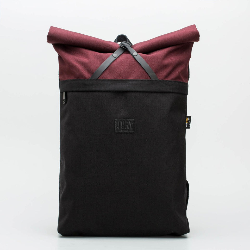 Fugacargo - Folder sack bordeaux lightweight commuter laptop backpack front view