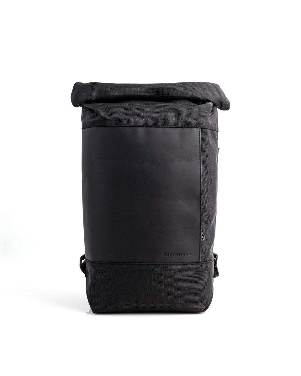 Fugacargo - Lean bag black versatile laptop backpack shoulder bag front view