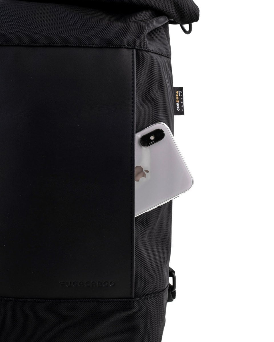 Fugacargo - Lean bag black versatile laptop backpack shoulder bag front pocket with iPhone detail