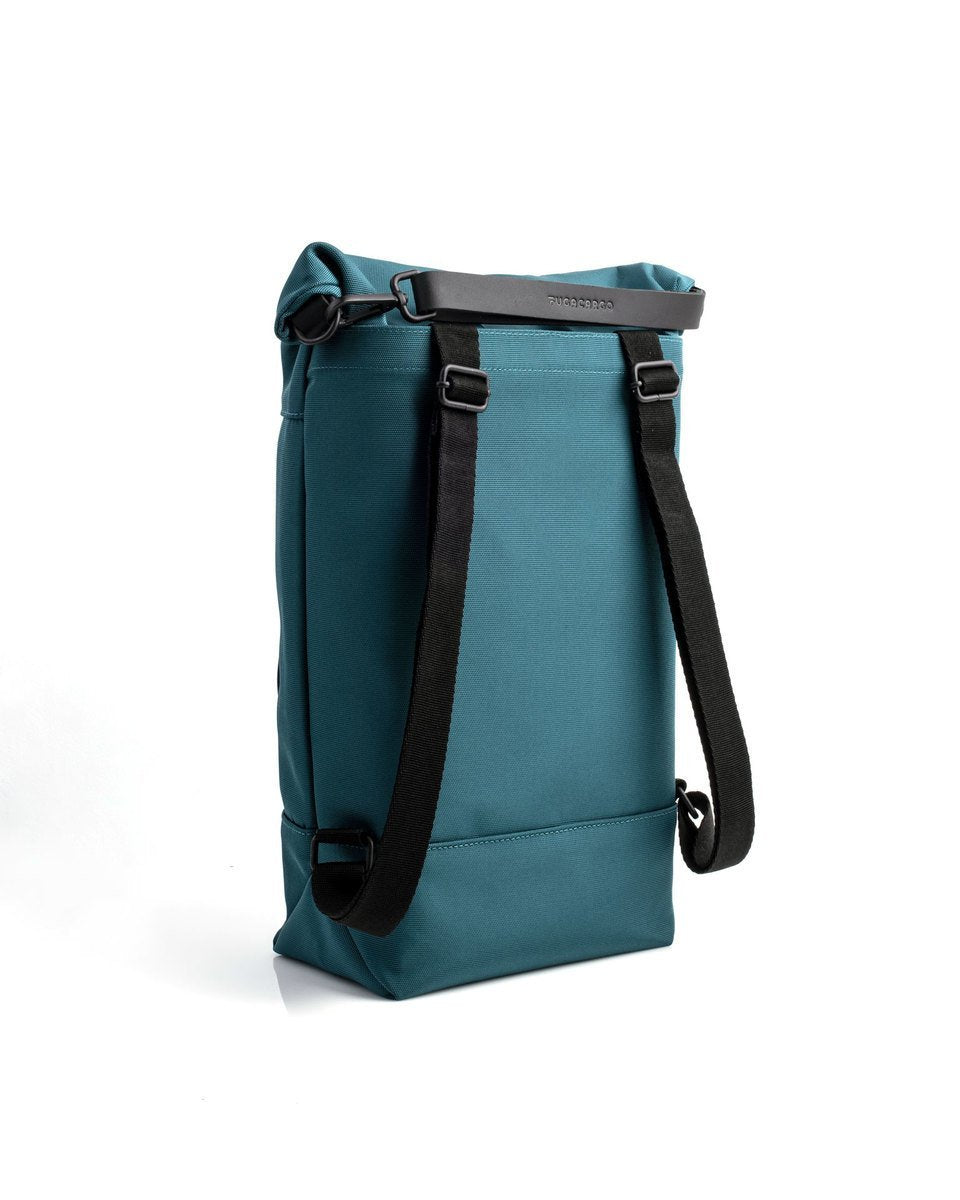 Fugacargo - Lean bag blue versatile laptop backpack shoulder bag three quarter back view