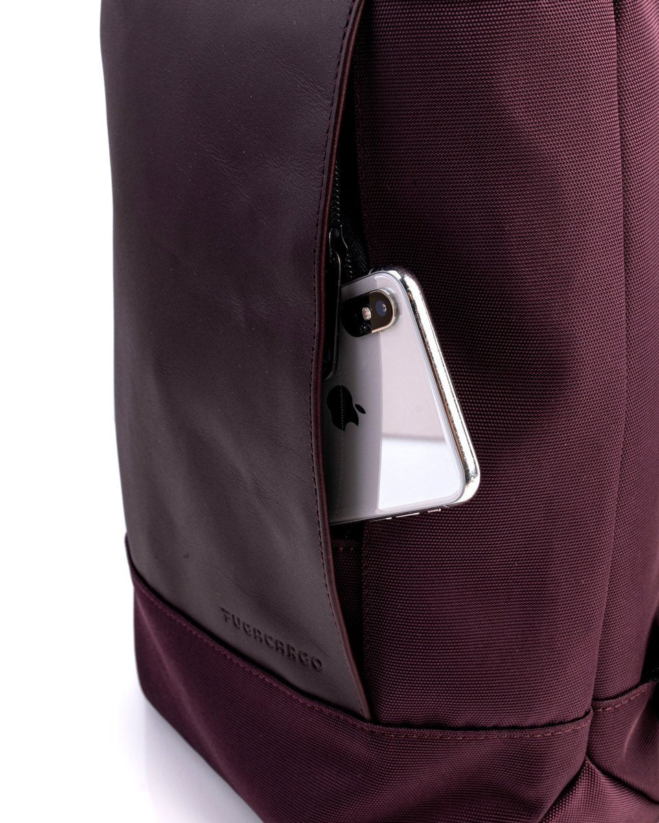 Fugacargo - Lean bag bordeaux versatile laptop backpack shoulder bag front pocket with iPhone detial
