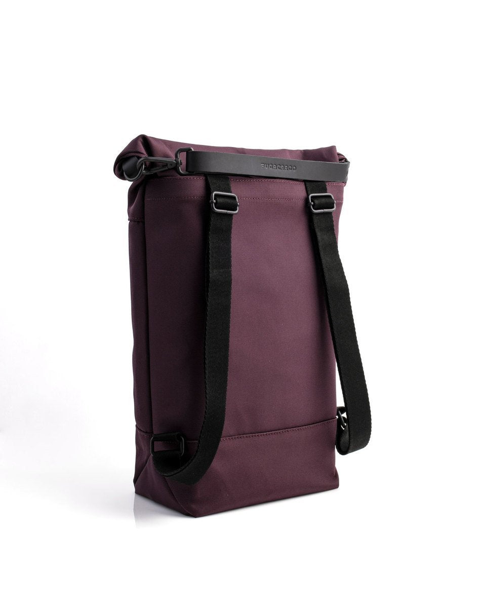 Fugacargo - Lean bag bordeaux versatile laptop backpack shoulder bag three quarter back view