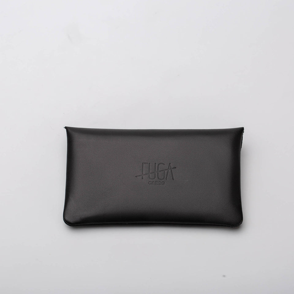 Fugacargo - Long wallet black minimalist long leather wallet front view