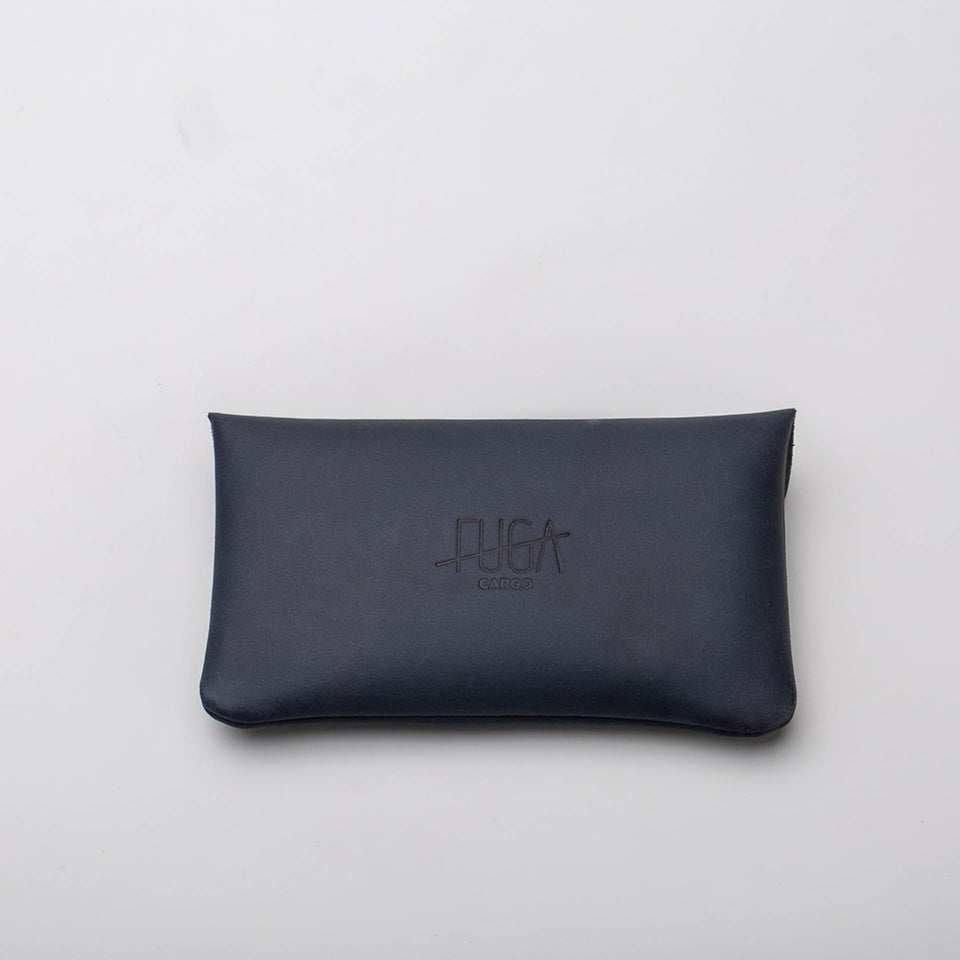 Fugacargo - Long wallet blue minimalist long leather wallet front view