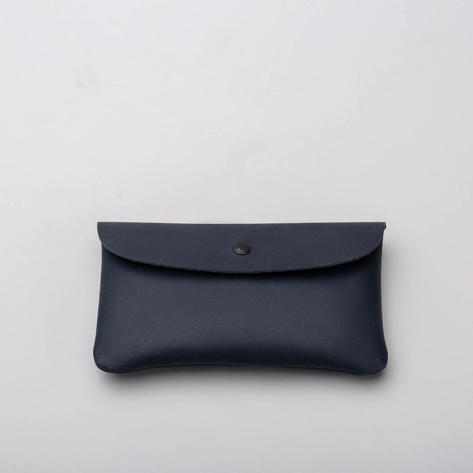 Fugacargo - Long wallet blue minimalist long leather wallet back view