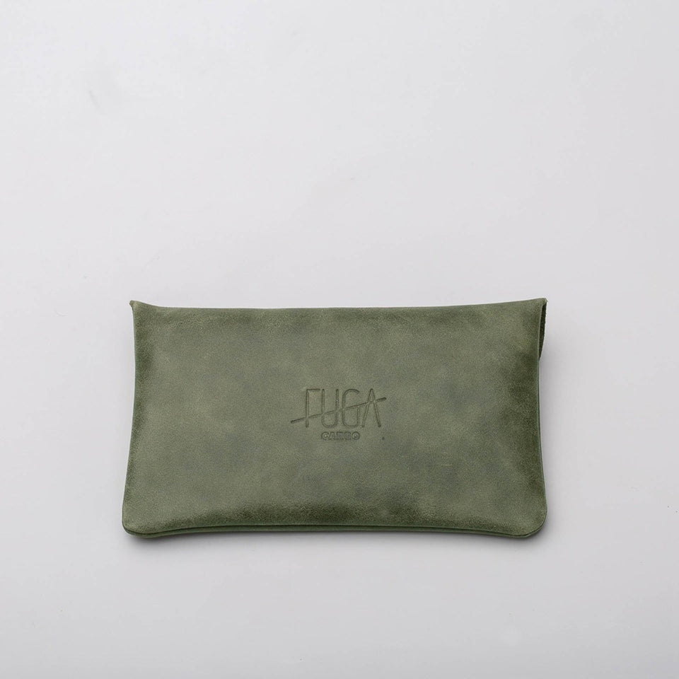 Fugacargo - Long wallet green minimalist long leather wallet front view