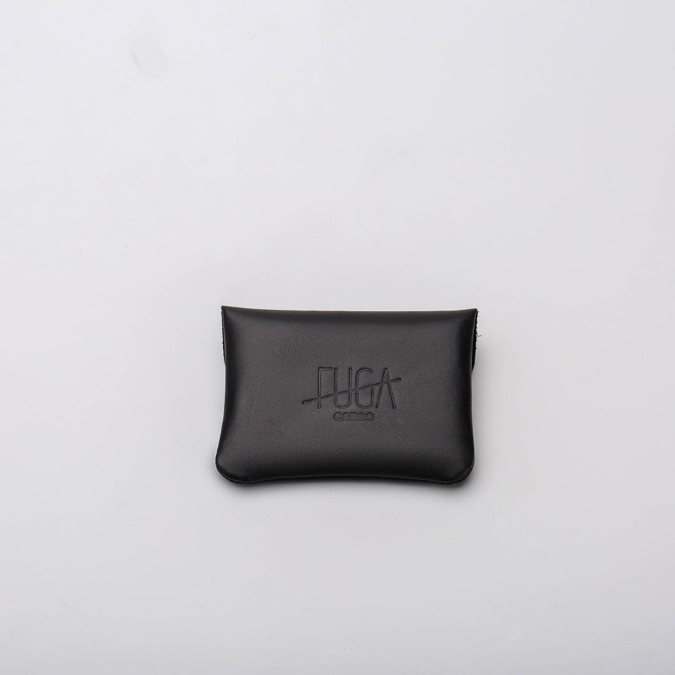Fugacargo - Mini wallet black minimalist smooth leather wallet front view