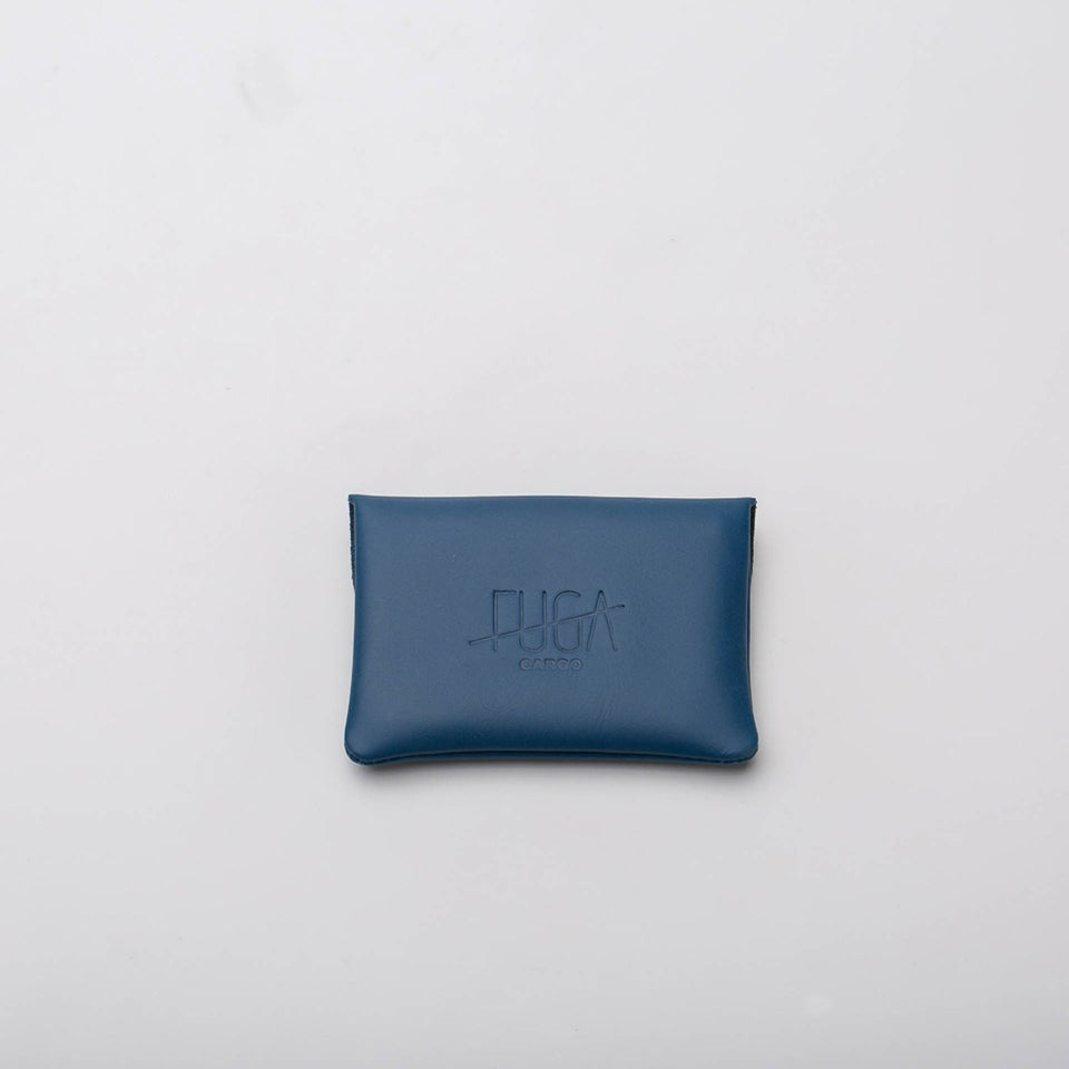 Fugacargo - Mini wallet blue minimalist smooth leather wallet front view
