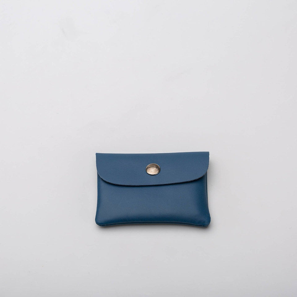 Fugacargo - Mini wallet blue minimalist smooth leather wallet back view