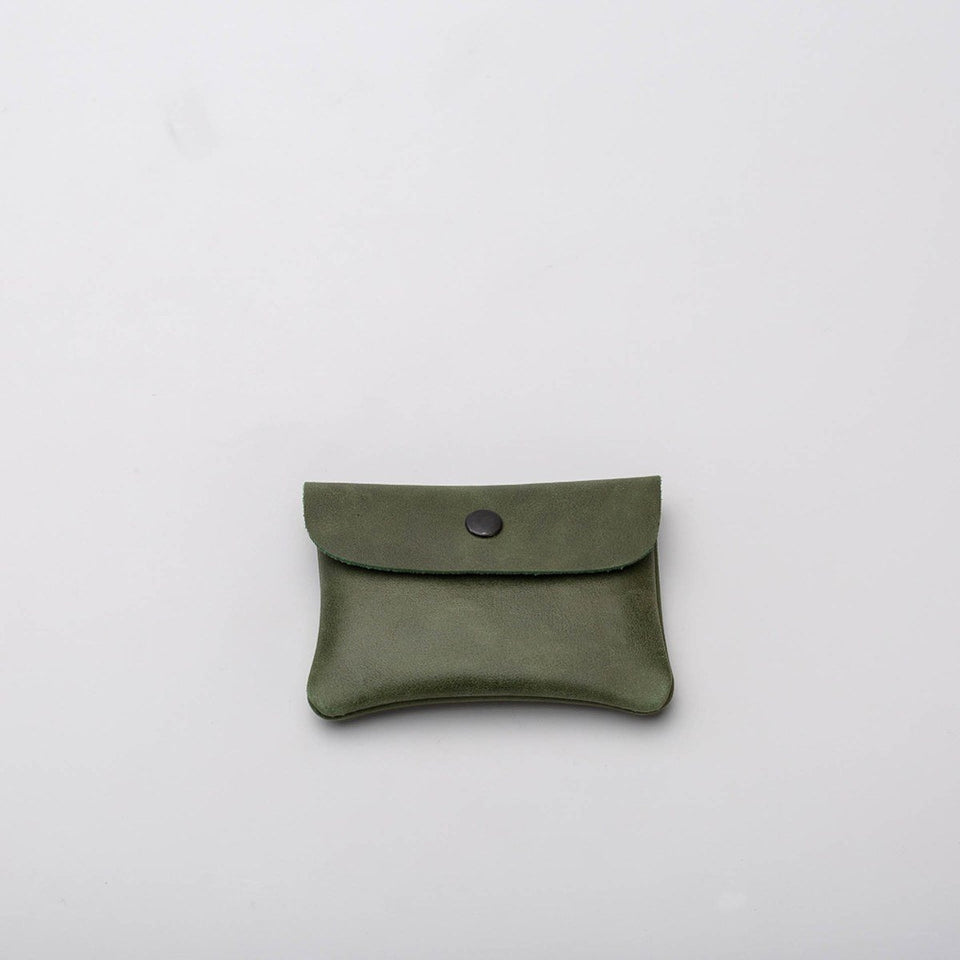 Fugacargo - Mini wallet green minimalist smooth leather wallet back view