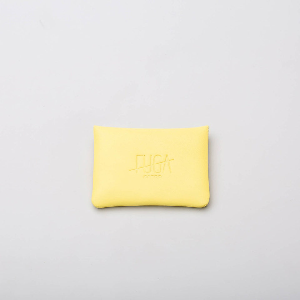 Fugacargo - Mini wallet yellow minimalist smooth leather wallet front view