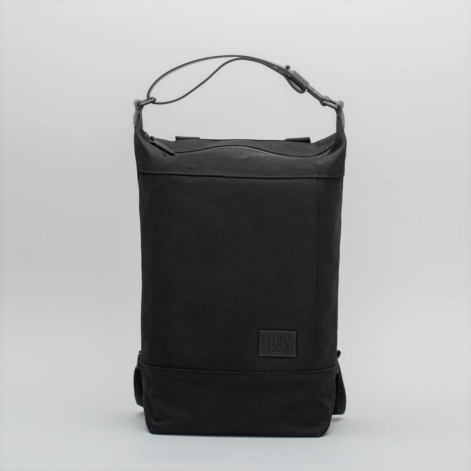 Fugacargo - Muda cotton bag black versatile backpack and shoulder bag front view
