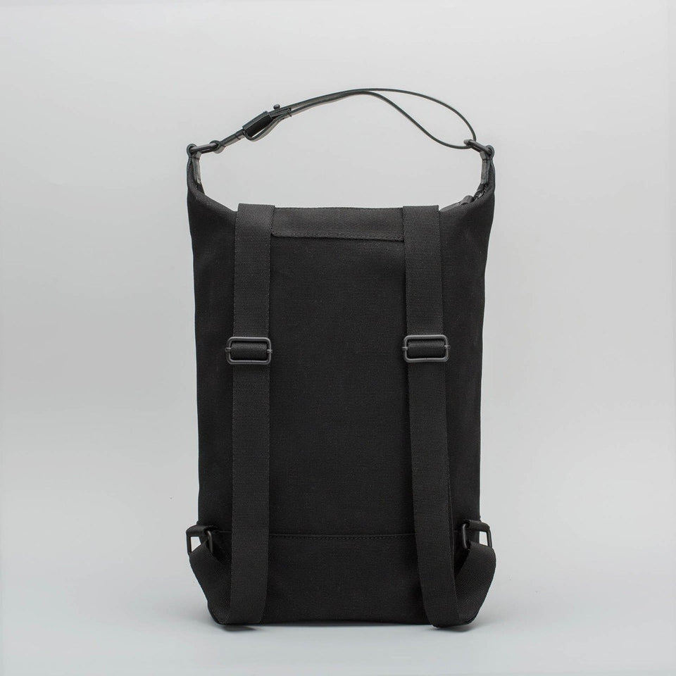 Fugacargo - Muda cotton bag black versatile backpack and shoulder bag back view