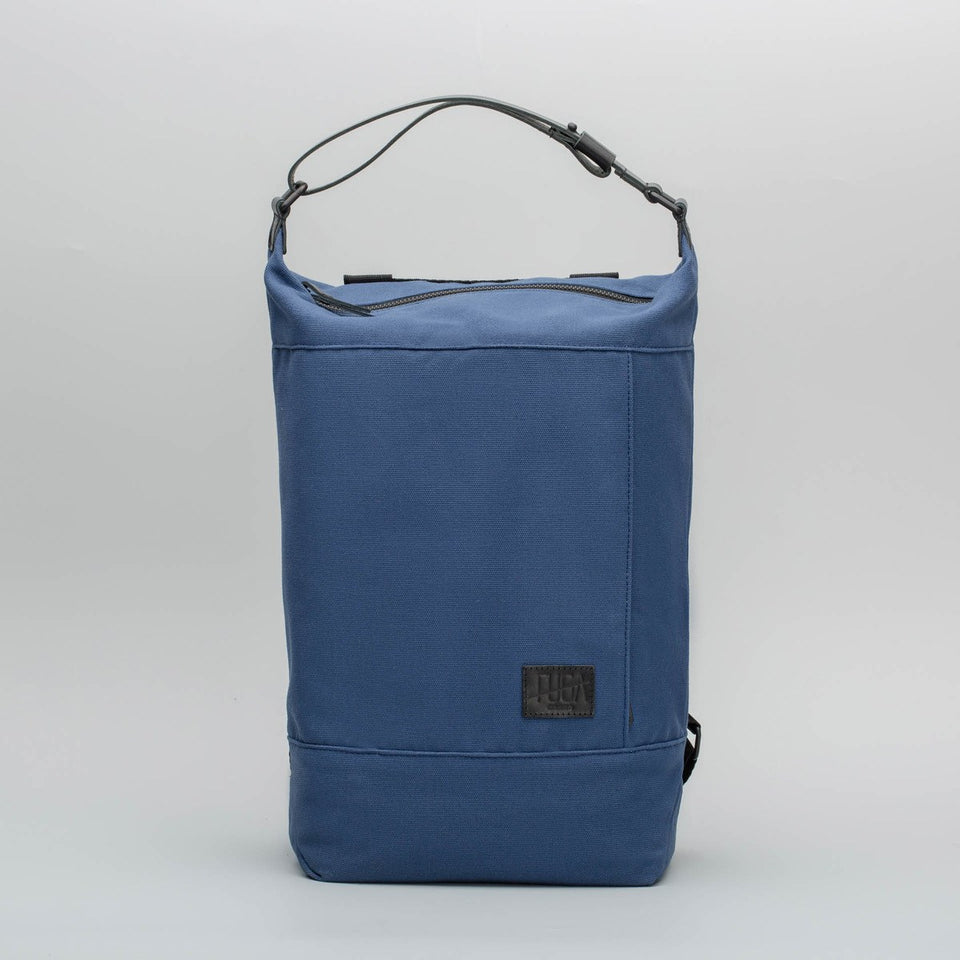 Fugacargo - Muda cotton bag blue versatile backpack and shoulder bag front view