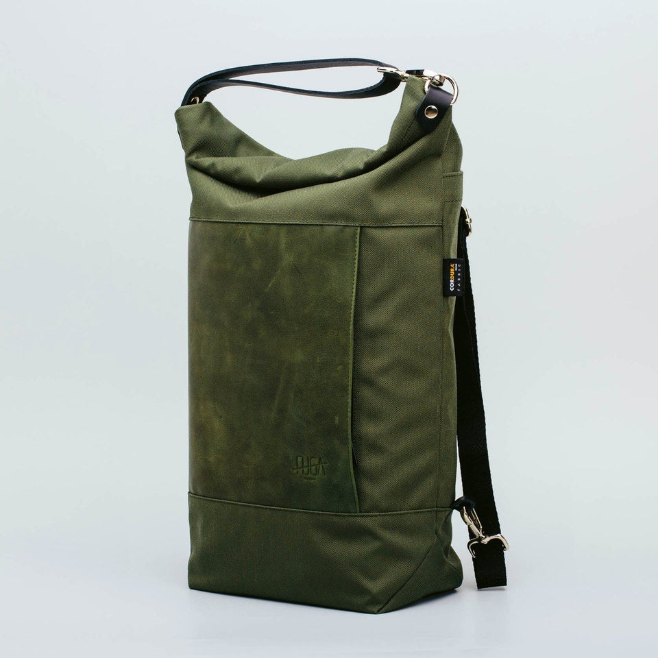 Fugacargo - Muda leather bag green versatile backpack shoulder bag front view