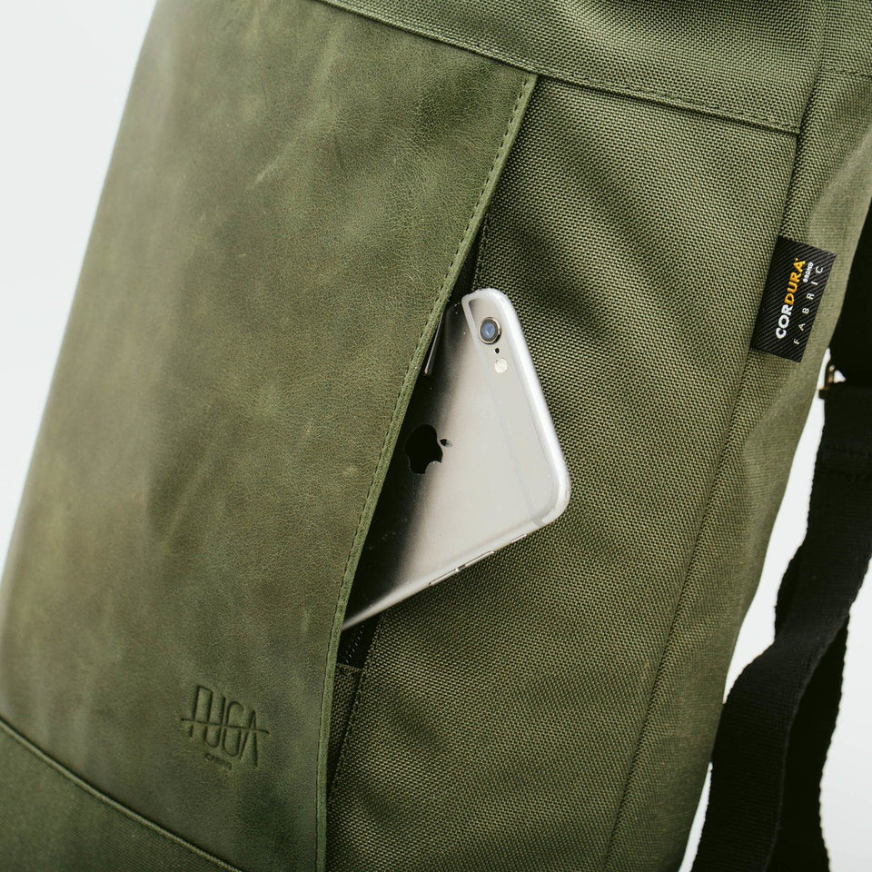 Fugacargo - Muda leather bag green versatile backpack shoulder bag front zippered pocket with iPhone detail