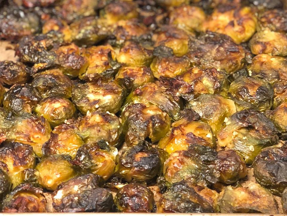 SMASHED BRUSSEL SPROUTS with Infusio Basil Olive Oil & Vanilla Fig Balsamic