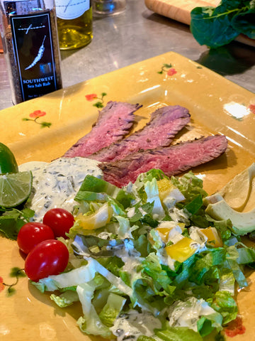 SOUTHWEST SKIRT STEAK SALAD & INFUSIO DIPS