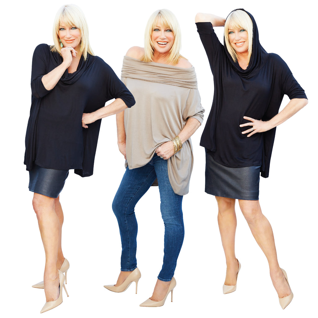 Suzanne Somers wearing a black 3 way poncho, Suzanne Somers wearing a mocha 3 way poncho, Suzanne Summers wearing a black 3 way poncho with hood up