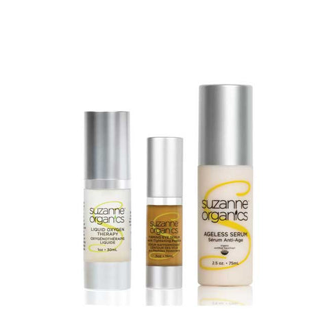three bottles in a collection - one of liquid oxygen serum, one of firming eye serum, and an ageless serum