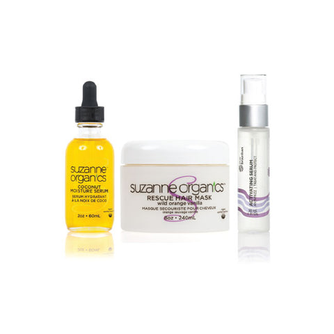 Skincare - SUZANNE Organics 3-Piece Summer Hair Repair Kit - • True Brazilian Activating Serum • SUZANNE Organics Rescue Hair Mask • SUZANNE Organics Coconut Moisture Serum