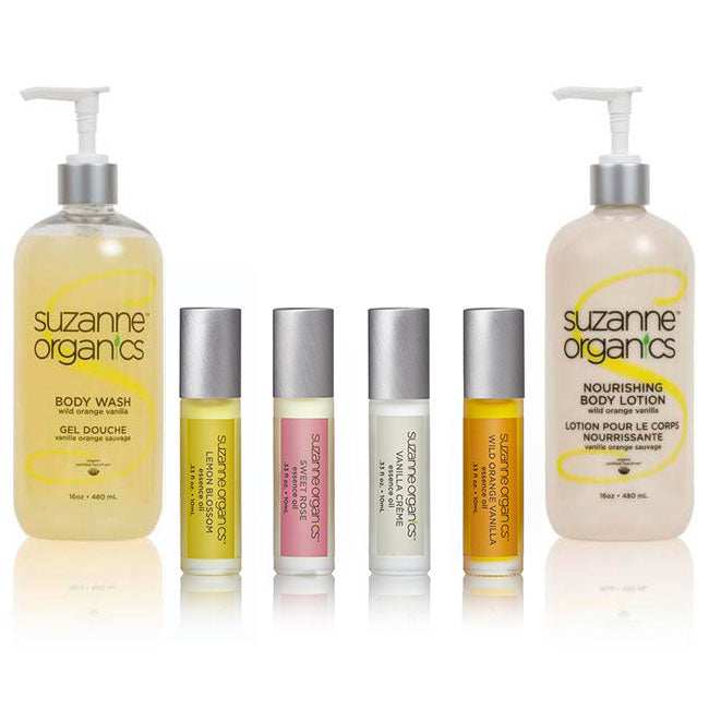 Skincare - SUZANNE Organics 4-Pack Essence Rollers + Nourishing Body Lotion & Body Wash Combo