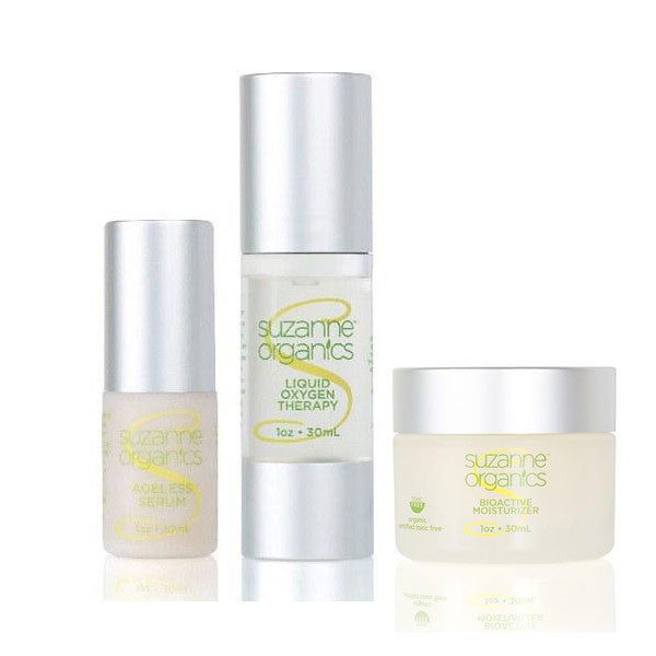 SUZANNE Organics 3-Piece Bestsellers Skincare Kit - Ageless Serum, Bioactive Moisturizer, and Liquid Oxygen Facial Serum