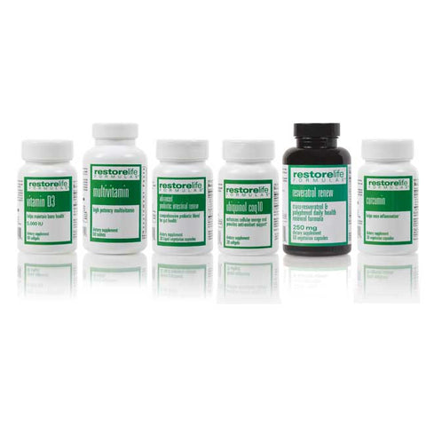 a collection of six bottles, including vitamin d3, multivitamin, advanced probiotic intestinal renew, ubiquinal, resveratral, and curcumin.