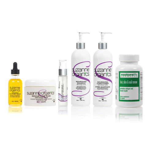 Skincare - SUZANNE Organics 6-Piece Summer Hair Repair Kit - • True Brazilian Activating Serum • SUZANNE Organics Rescue Hair Mask • SUZANNE Organics Coconut Moisture Serum  • SUZANNE Organics Wild Orange Vanilla Nourishing Shampoo  • SUZANNE Organics Wild Orange Vanilla Hydrating Conditioner  • RestoreLife Formulas Hair Skin and Nail Renew Supplements