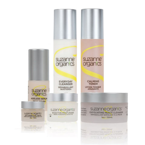 a picture of the six products which make up the 6-piece skincare kit
