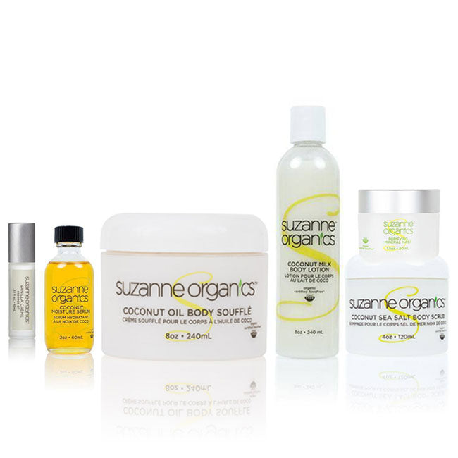 Skincare - SUZANNE Organics 6-Piece Coconut Massage Kit - COCONUT SEA SALT SCRUB  COCONUT BODY SOUFFLE VANILLA CREME ESSENCE ROLLER Coconut Moisture Serum Coconut Milk Body Lotion Purifying Mineral Mask