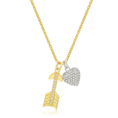 Suzanne Somers Pavé Cupid's Heart and Arrow Double Pendant Necklace