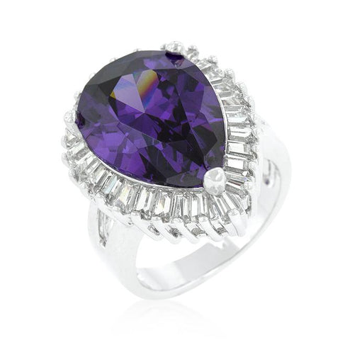 Suzanne Somers Purple Pear and Baguette Halo Ring
