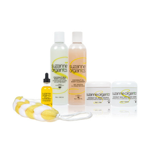 Skincare - SUZANNE Organics 6-Piece Coconut Bodycafre Kit - COCONUT OIL MOISTURE SERUM (2 OZ.) COCONUT SEA SALT SCRUB (4 OZ.)  COCONUT MILK BODY LOTION (8 OZ.)  COCO MANGO BODY CLEANSER (8 OZ.)  COCONUT BODY SOUFFLE (8 OZ.) SHOWER LOOFAH