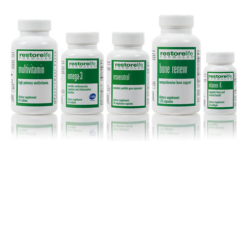 RestoreLife 5-Piece Supplement Kit - • High Potency Multivitamin Supplement - 60 tablets • Omega-3 Dietary Supplement - 60 softgels • Resveratrol Renew - 30 capsulesl • Bone Renew Dietary Supplement - 120 capsules • Vitamin K Dietary Supplement - 30 tablets