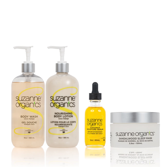 Skincare - SUZANNE Organics 4-Piece Bedtime Bath & Body Kit - CocoMango Body Wash (Salon Size) CocoMango Body Lotion (Salon Size) Coconut Moisture Serum Sandalwood Sleep Mask