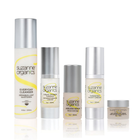 skincare - SUZANNE Organics 5-Piece Bedtime Skincare Kit - Everyday Cleanser Liquid Oxygen, Ageless Serum, Targeted Night Cream Anti-Aging Eye Cream