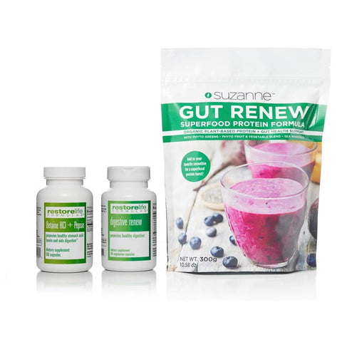 pouch of GUT RENEW Superfood, bottle of digestive renew, and bottle of Betaine HCI