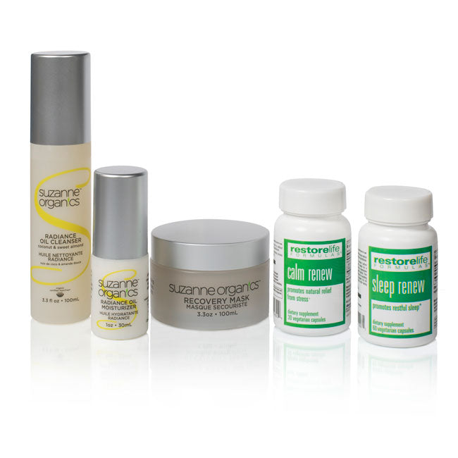 Calm Renew, Sleep Renew, Recovery Mask, Radiance Oil Cleanser, Radiance Oil Moisturizer