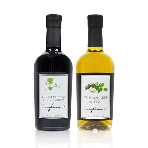 INFUSIO Aromatic Infused Extra-Virgin Olive Oil and Balsamic Vinegar Combo