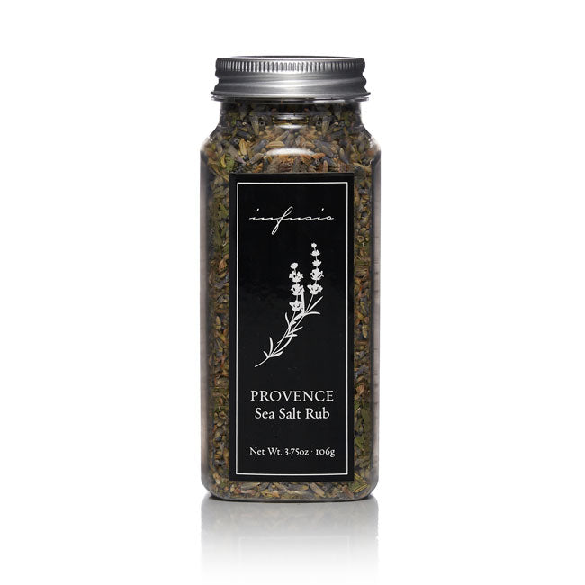 Clear glass jar of Infusio Provence Sea Salt Rub