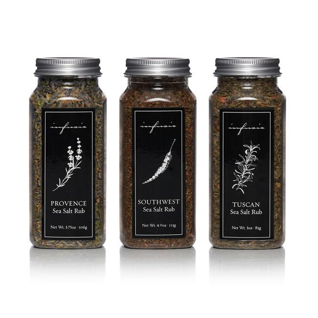 3 jars of Infusio Sea Salts - Provence, Southwest, and Tuscan