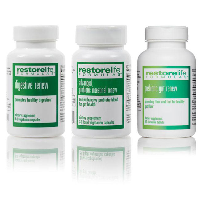 RestoreLife Gut Health Supplement Kit - • Advanced Probiotic Intestinal Renew • Prebiotic Gut Renew • Digestive Renew Dietary Enzymes