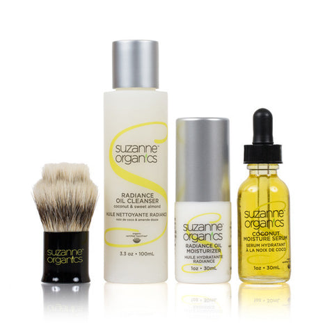 SUZANNE Organics 4-Piece Radiance Oil Kit with Exfoliating Dry Brush