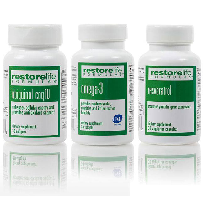 RestoreLife Essential Starter Supplement Kit - • Omega-3 • Resveratrol • Ubiquinol CoQ10